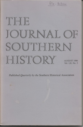 Image for The Journal Of Southern History, August 1986 Vol. LII, No. 3