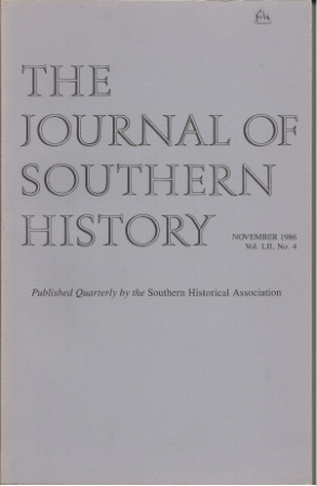 Image for The Journal Of Southern History, November 1986 Vol. LII, No. 4