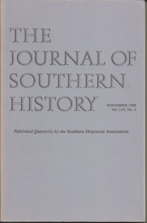 Image for The Journal Of Southern History November 1988 Vol. LIV, No. 4
