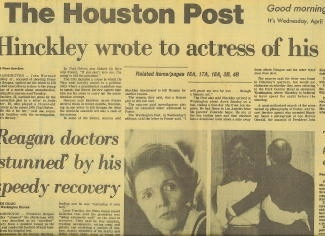 Image for The Houston Post: Hinckley Wrote To Actress Of His Plans