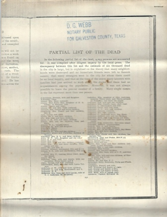 Image for Partial List Of The Dead (1900 Hurricane, Galveston, Texas)