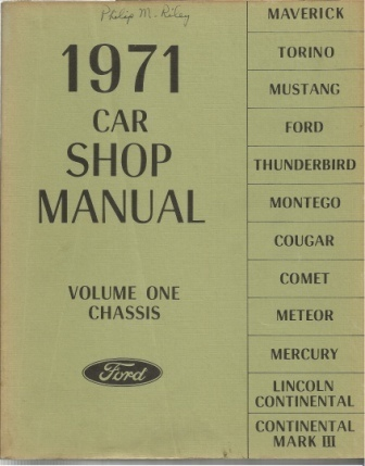 Image for 1971 Car Shop Manual: Ford Volume One: Chassis