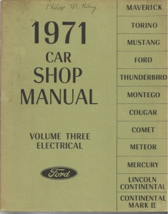 Image for 1971 Car Shop Manual: Ford Volume Three: Electrical
