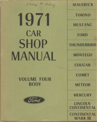 Image for 1971 Ford Car Shop Manual Volume Four: Body