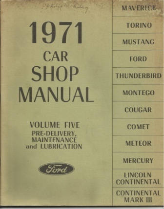 Image for 1971 Ford Car Shop Manual Volume Five, Pre-Delivery, Maintenance and Lubrication