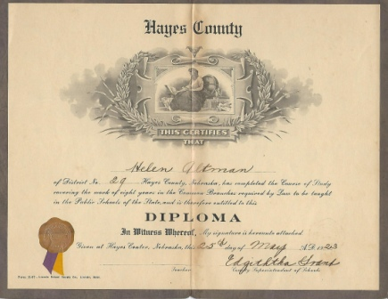Image for Eighth Grade Diploma For Helen Altman For District 29, Hayes County, Nebraska