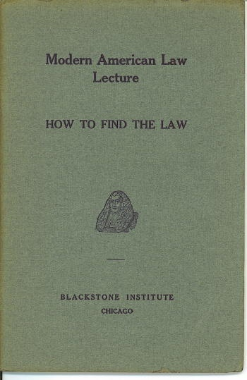 Image for Modern American Law Lecture, How To Find The Law