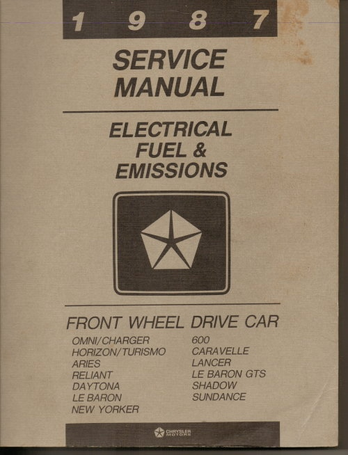 Image for 1987 Chrysler Service Manual, Electrical Fuel & Emissions, Front Wheel Drive Car