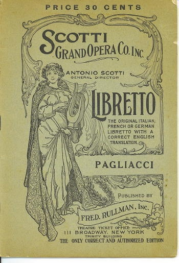 Image for Pagliacci  (Punchinello) Opera in Two Acts