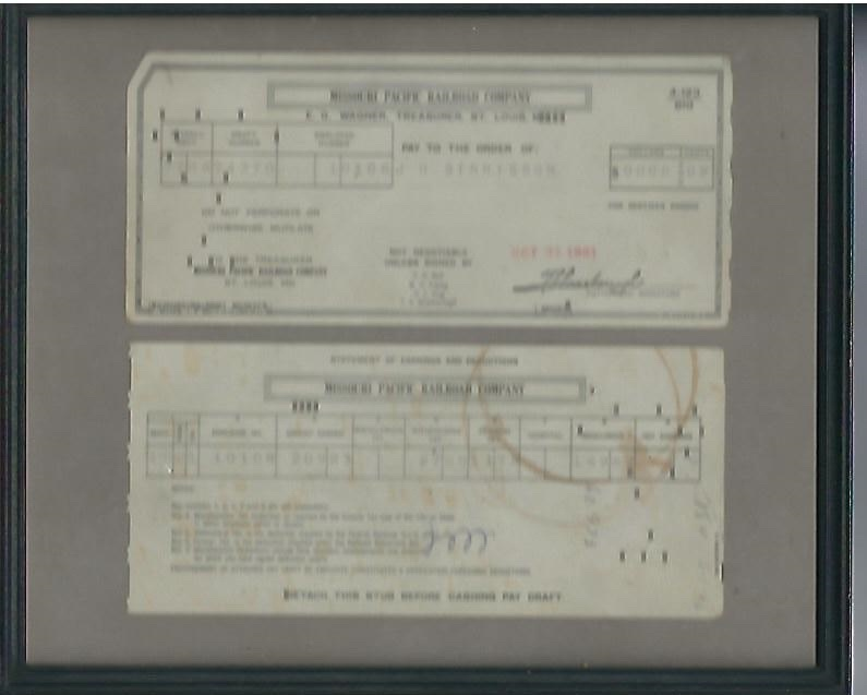 Image for Missouri Pacific Railroad Company Payment Check and Stub