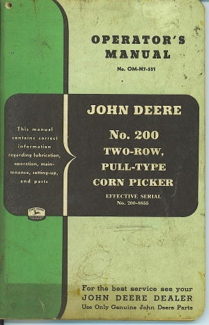 Image for John Deere No. 200 Two-row, Pull-type Corn Picker