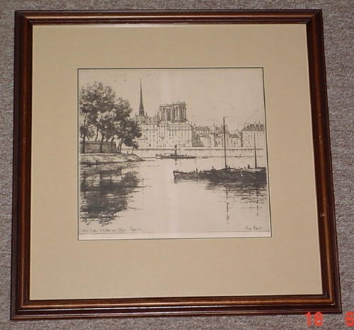 Image for Notre Dame, Paris 1921, Original Etching, Signed, Framed