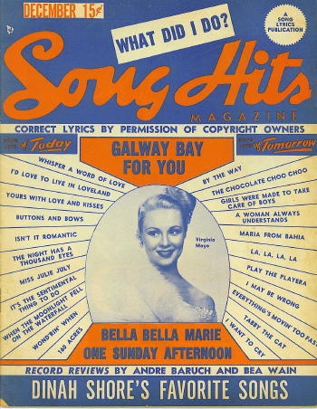 Image for Song Hits: December 1948: Virginia Mayo, Bella Bella Marie, One Sunday Afternoon