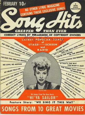 Image for Song Hits: February 1944: Lucille Ball