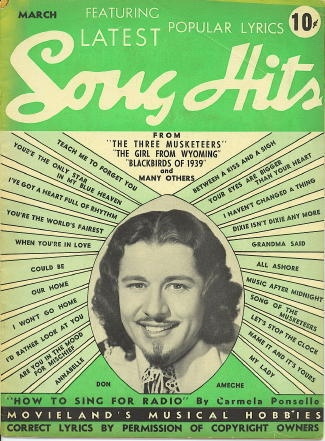 Image for Song Hits: March 1939, Don Ameche, Three Musketeers, Girl From Wyoming, Blackbirds Of 1939
