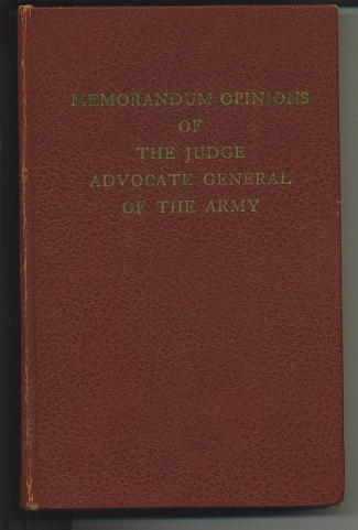 Image for Memorandum Opinions Of The Judge Advocate General Of The Army