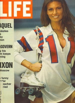 Image for Life Magazine, June 2, 1972 Raquel on Skates