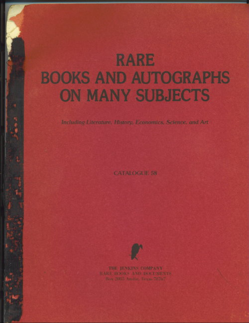 Image for Rare Books And Autographs On Many Subjects, Catalogue 58