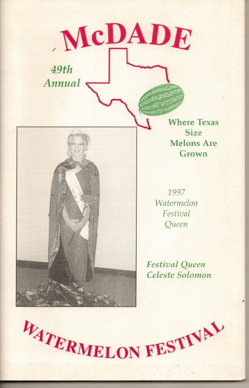 Image for McDade's Annual Watermelon Festival (McDade, Texas)  49th Annual, 1997 Festival Queen Celeste Solomon