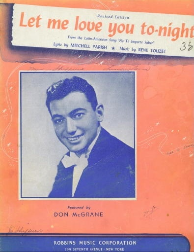 Image for Let Me Love You To-night (no Te Importe Saber)  Featured by Don McGrane