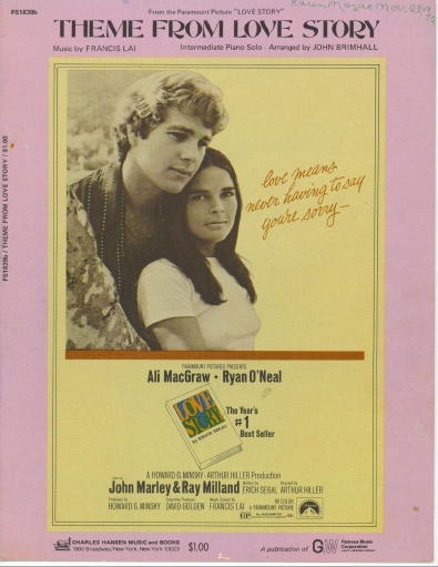"Image for Theme From Love Story From the Paramount Picture ""Love Story"", Starring Ali McGraw Amd Ryan O'Neal"