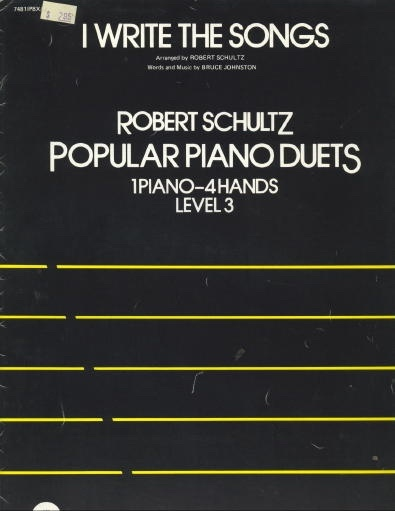 Image for I Write The Songs Robert Scultz, Popular Piano Duets