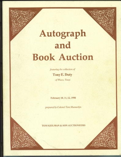 Image for Autograph And Book Auction Featuring the Collection of Tony E. Duty of Waco, Texas