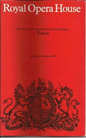 Image for Tosca, The 301st Performance At The Royal Opera House, Tuesday 15 February 1983