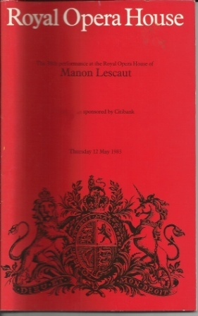 Image for Manon Lescaut , The 38th Performance At The Royal Opera House, Thursday 12 May 1983