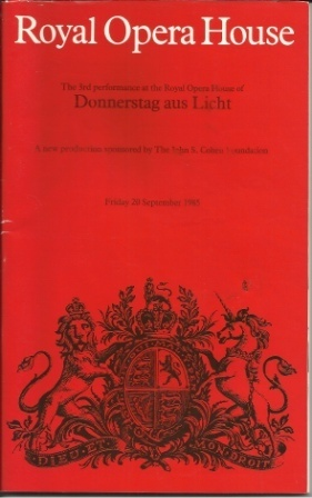 Image for Donnerstag Aus Licht The 3rd Performance At the Royal Opera House, Friday September 1985