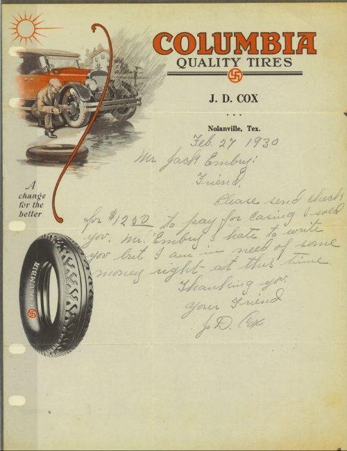 Image for Letter On Letterhead From Columbia Quality Tires, Nolanville, Tex., Dated February 27, 1930