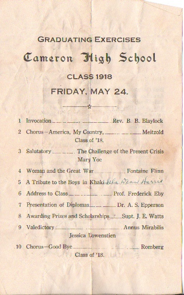 Image for Cameron High School Class Of 1918 Graduating Exercises, Friday, May 24, 1918 ( Cameron, Texas)