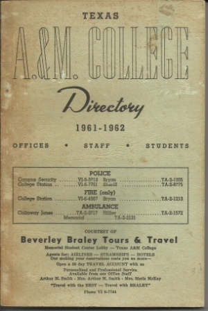 Image for Texas A & M College Directory 1961-1962 Offices, Staff, Students