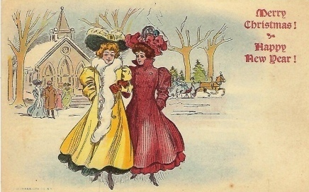 Image for Merry Christmas! Happy New Year!  Two Ladies Leaving Church, One in Yellow, the Other in Red