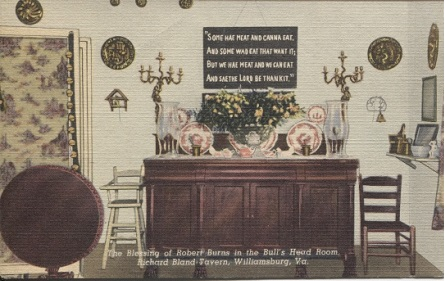 Image for The Blessing Of Robert Burns In the Bull's Head Room , Richard Bland Tavern, Williamsburg, Virginia