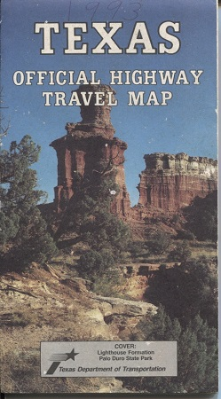 Image for Texas Official Highway Travel Map Cover, Lighthouse Formation in Palo Duro State Park